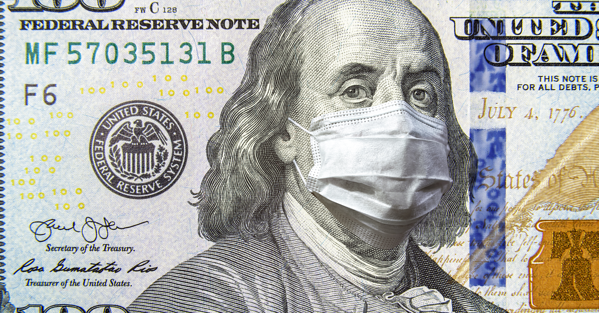 100 dollar money bill with Benjamin Franklin wearing a surgical mask