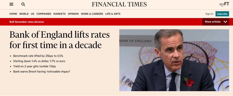 Bank of England Lifts Rates, Source: Financial Times - November 3, 2017
