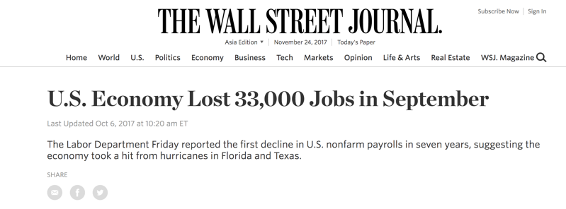 The US Job Cuts, Source: The Wall Street Journal - October 6, 2017