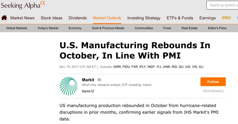 US Manufacturing Production Rebounds, Source: Seeking Alpha - November 19, 2017
