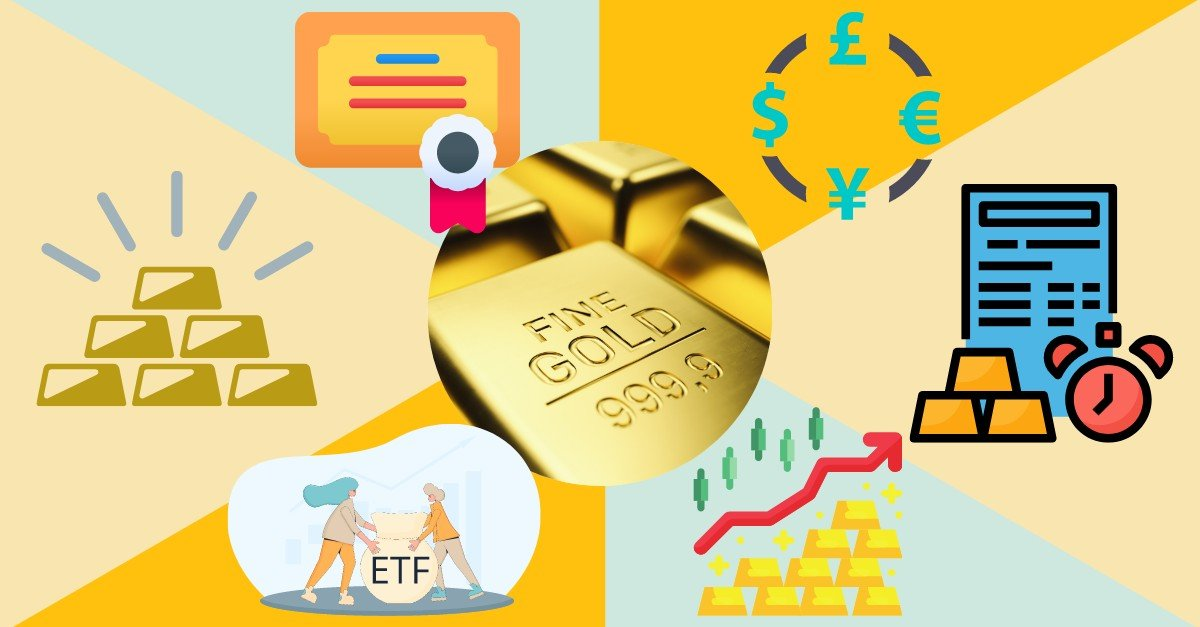 image featuring different gold financial instruments
