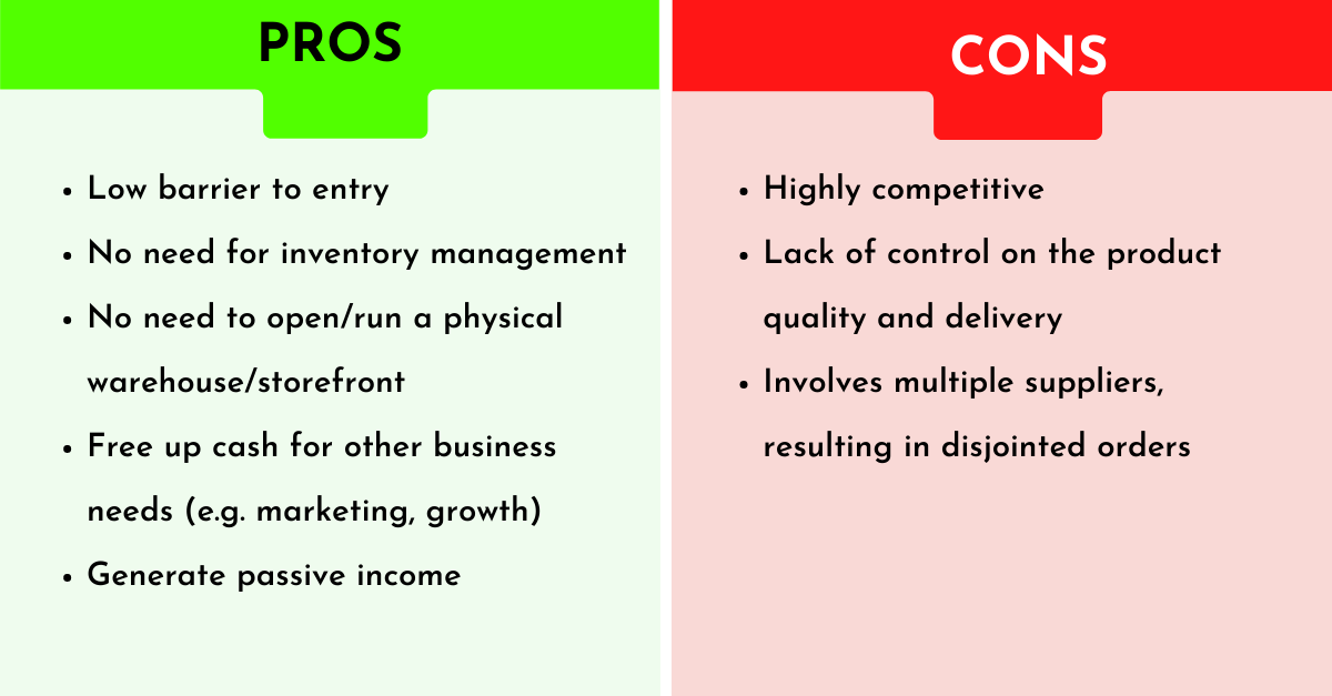 pros and cons of opening a dropshipping store