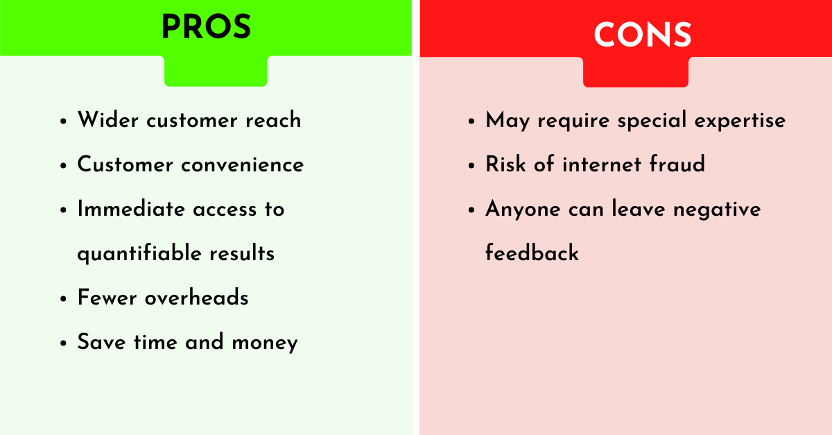 pros and cons of providing online marketing services