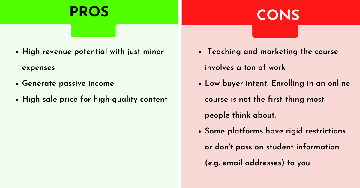 pros and cons of selling online courses