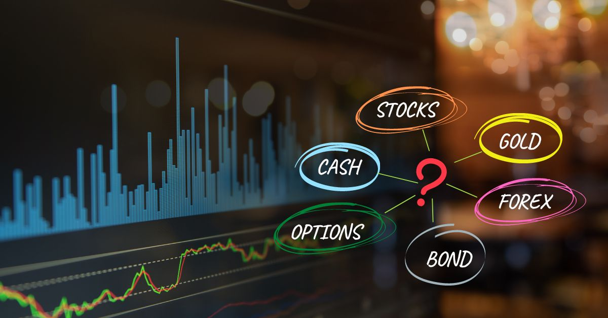 diferent investment options around a question mark, trading chart on the background